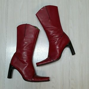 Donald J Pliner leather boots in burnt red sz 7